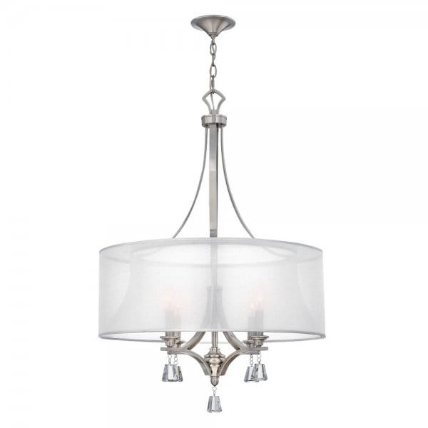 3 Light Led Ceiling Pendant Brushed Nickel Contemporary: Decorative Modern Ceiling Pendant Chandelier In Nickel
