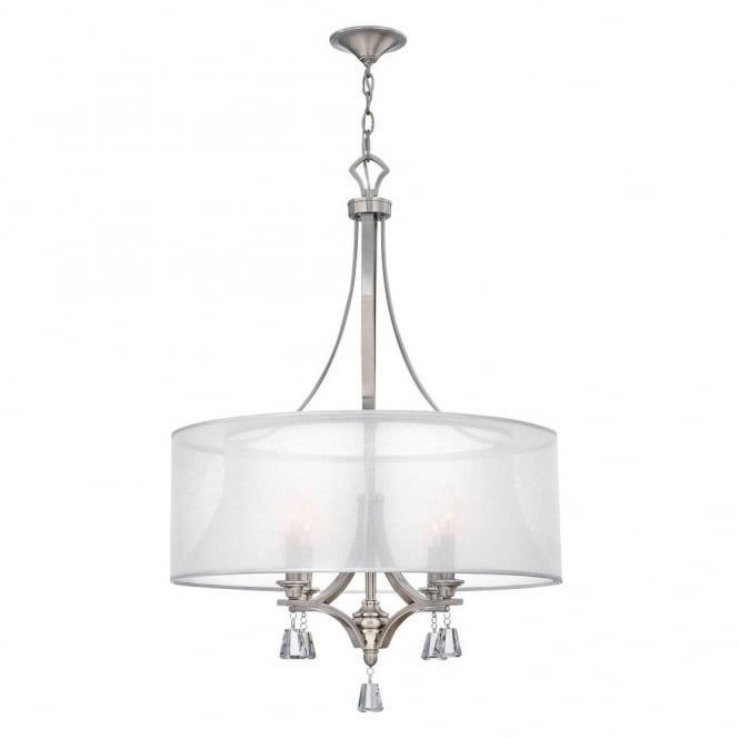Hinkley Lighting MIME decorative modern 4lt pendant chandelier in brushed nickel with crystal accents