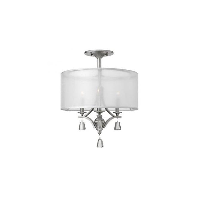 Hinkley Lighting MIME decorative modern semi flush ceiling light in brushed nickel with crystal accents