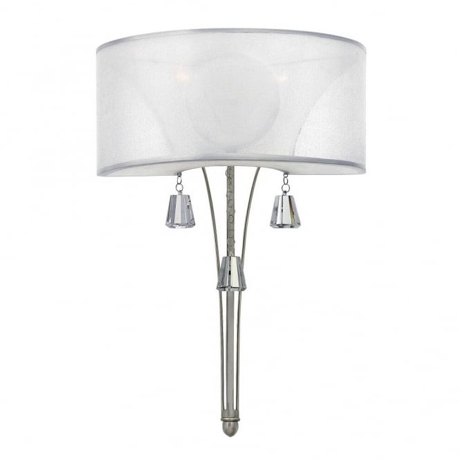 Hinkley Lighting MIME decorative modern wall light in brushed nickel with crystal accents