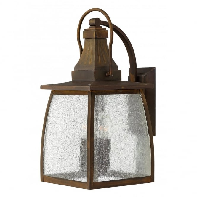 Large Solid Brass Exterior Garden Wall Lantern, Seeded Glass Panels