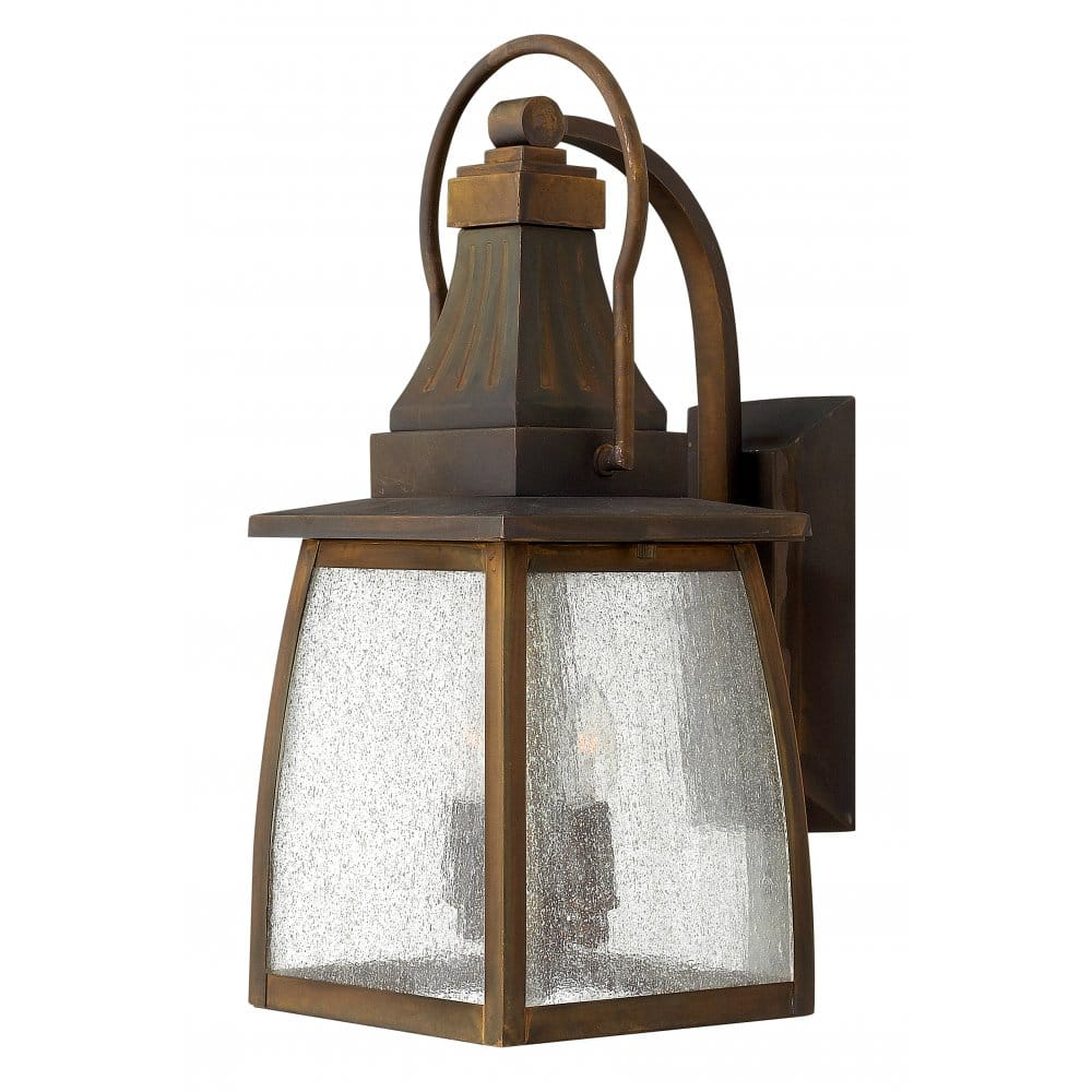 Traditional Outdoor Wall Lantern In Solid Brass With Rust
