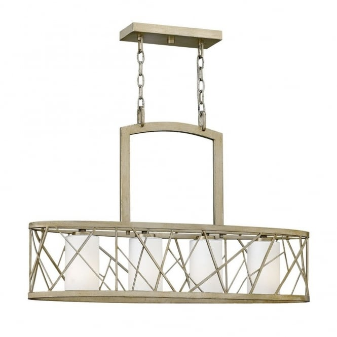 Hinkley Lighting NEST contemporary 4lt island chandelier in silver leaf finish with etched glass inner shades