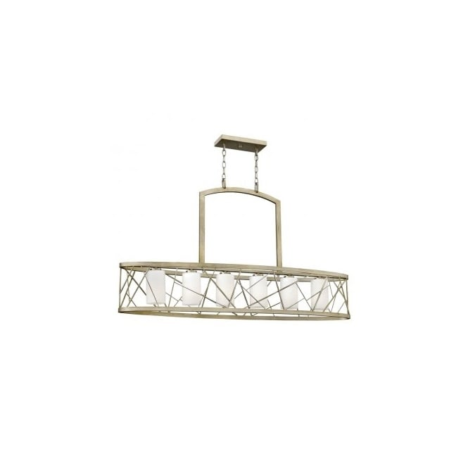Hinkley Lighting NEST contemporary 6lt island chandelier in silver leaf finish with etched glass inner shades