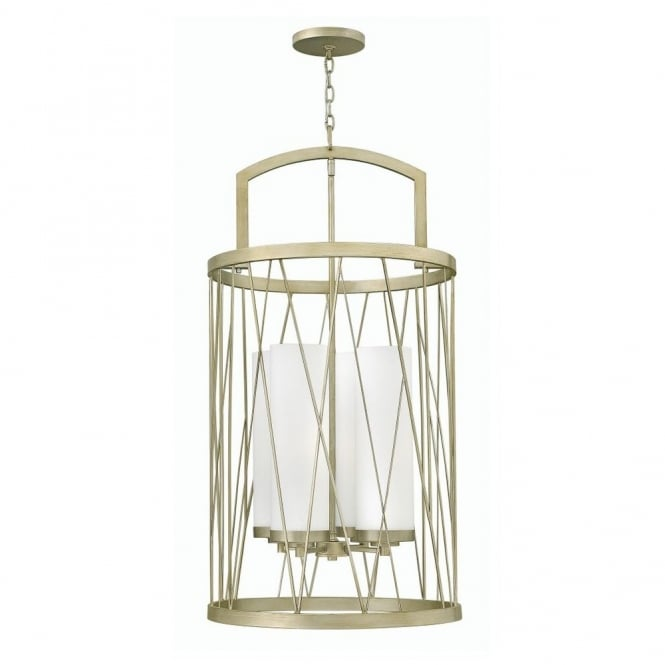 NEST contemporary ceiling pendant in silver leaf finish with etched glass inner shade (4lt)