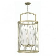modern silver leaf ceiling pendant with etched glass inner shade