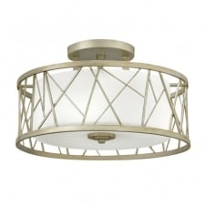 modern silver leaf semi flush ceiling light with etched glass inner shade
