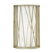 modern silver leaf wall light with etched glass inner shade