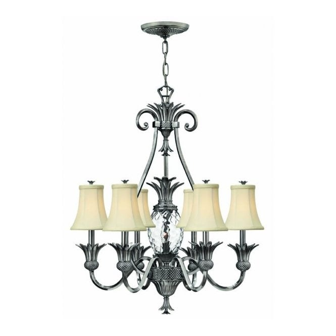 Hinkley Lighting PLANTATION antique nickel pineapple ceiling chandelier