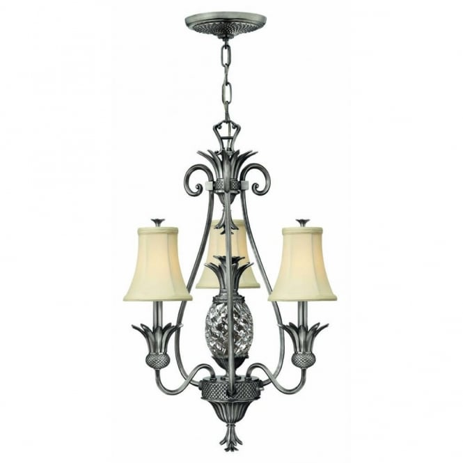 Hinkley Lighting PLANTATION small antique nickel pineapple ceiling chandelier