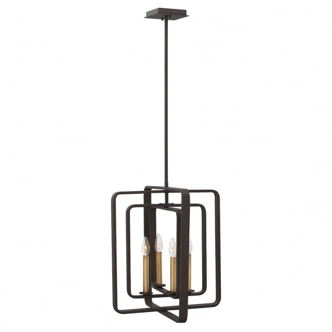 QUENTIN vintage geometric 4 light pendant chandelier in bronze (tall)