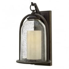 QUINCY rustic glass bell & candle outdoor wall lantern (medium)