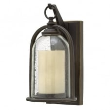 QUINCY rustic glass bell & candle outdoor wall lantern (small)