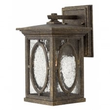 traditional outdoor wall lantern in autumn finish with clear seeded glass