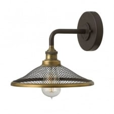 RIGBY vintage industrial wall light in dark bronze with mesh shade