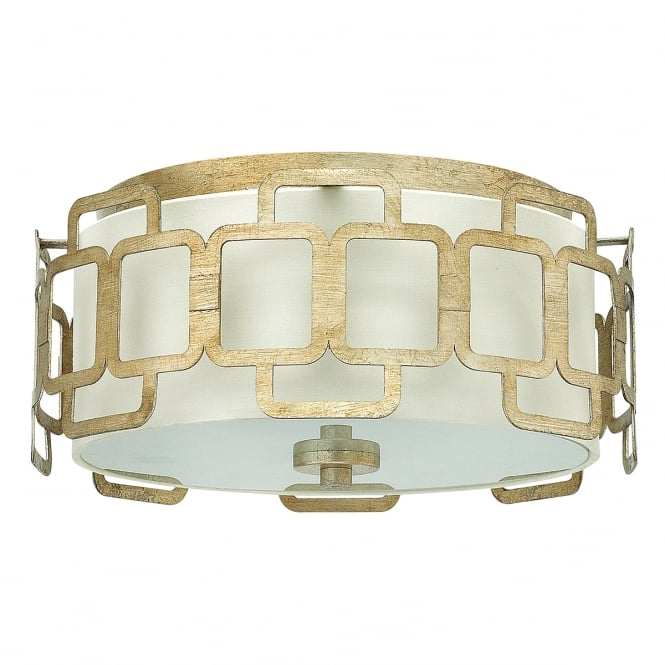 Hinkley Lighting SABINA decorative geometric 3 light flush fit ceiling light in silver leaf finish