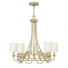 modern geometric chandelier in silver leaf finish