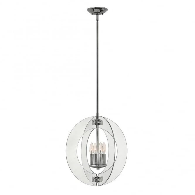 Hinkley Lighting SOLSTICE contemporary pendant chandelier with clear glass panel shades (medium)