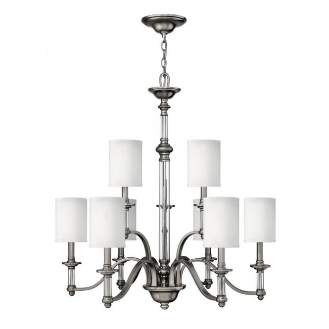 Hinkley Lighting SUSSEX modern traditional 9lt chandelier in brushed nickel with white shades