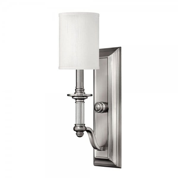 Modern Traditional Wall Light in Brushed Nickel with White Shade