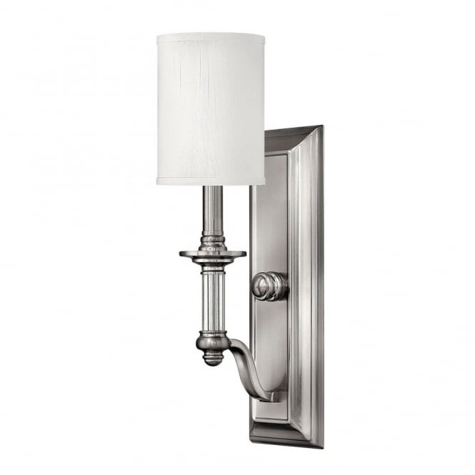 Modern Traditional Brushed Nickel Wall Sconce With White Shade