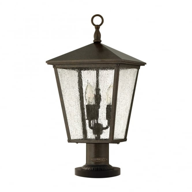 Traditional Outdoor Pedestal Lantern In Bronze With Seeded Glass