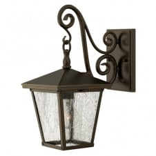 TRELLIS small exterior traditional regency wall lantern in bronze