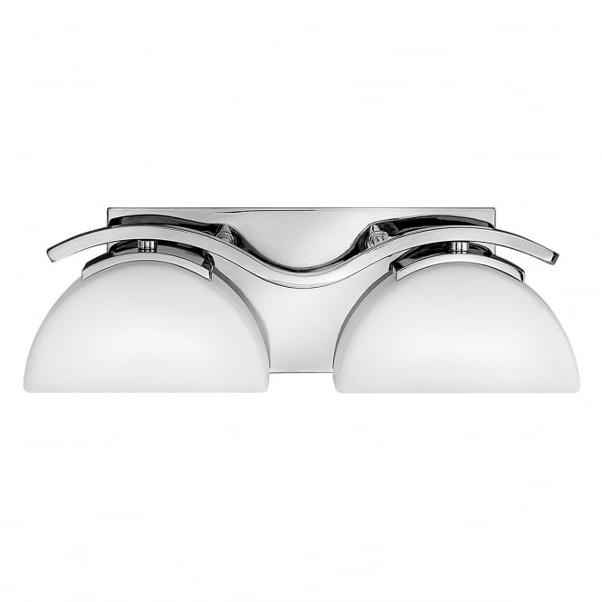 VERVE contemporary twin chrome bathroom wall light with opal glass shades