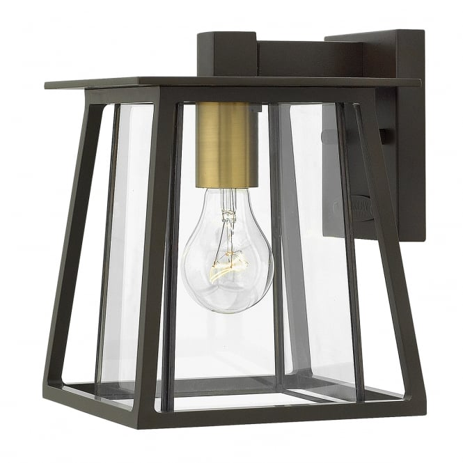 WALKER exterior wall lantern in buckeye bronze with bevelled glass (small)
