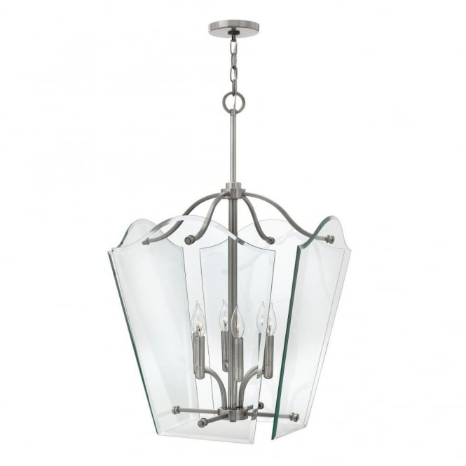 Hinkley Lighting WINGATE modern classic lantern ceiling pendant with clear glass float effect panels (large)