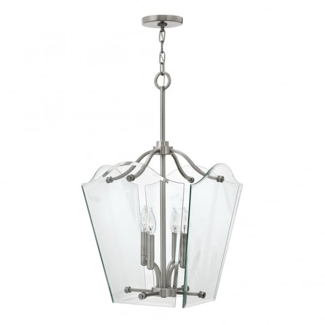 Hinkley Lighting WINGATE modern classic lantern ceiling pendant with clear glass float effect panels (medium)