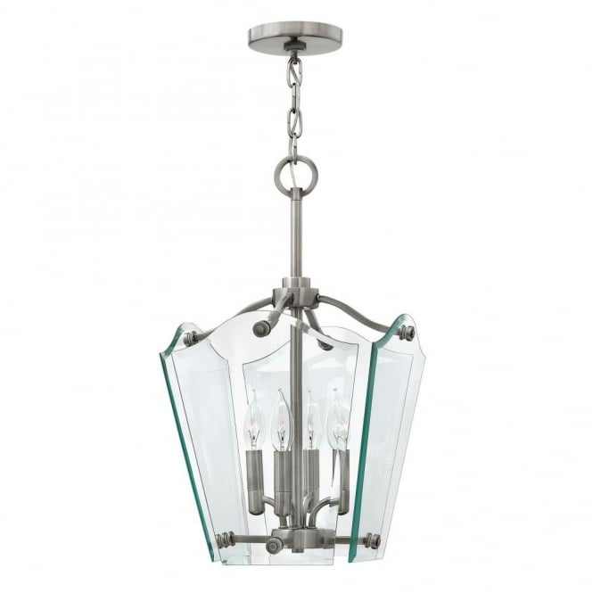 Hinkley Lighting WINGATE modern classic lantern ceiling pendant with clear glass float effect panels (small)