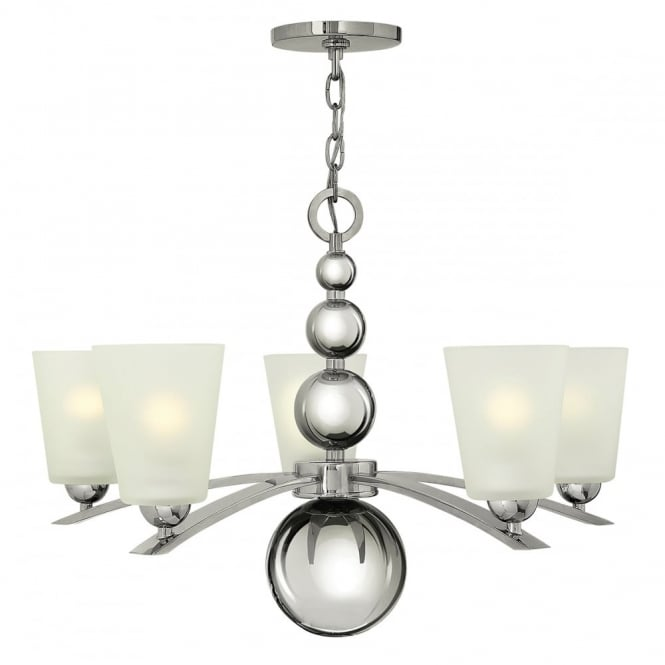 Hinkley Lighting ZELDA Art Deco nickel chandelier with frosted glass shades - 5 lights