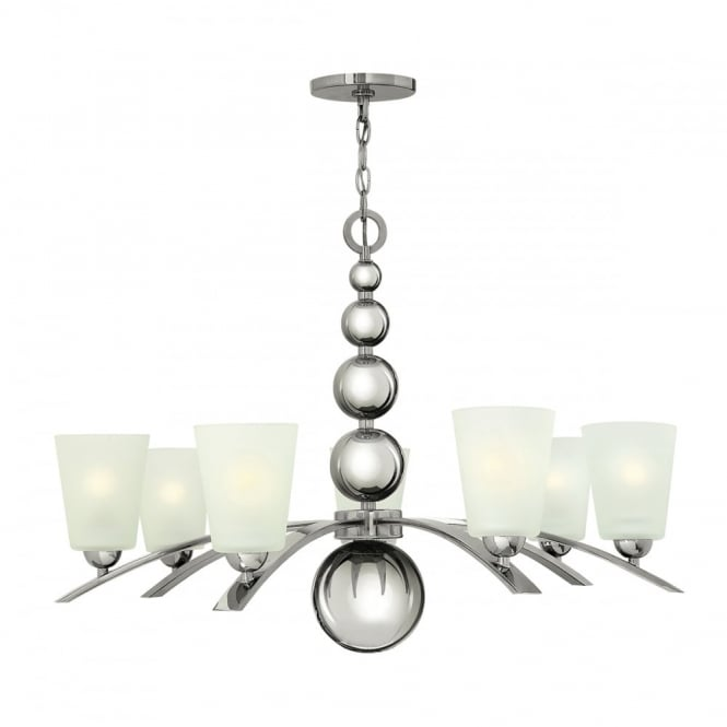Hinkley Lighting ZELDA Art Deco nickel chandelier with frosted glass shades - 7 lights