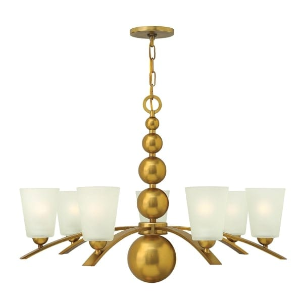 Long Drop Chandelier In Vintage Brass With 5 Frosted Glass Shades