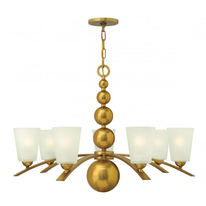 Hinkley Lighting ZELDA vintage brass chandelier with frosted glass shades - 7 lights