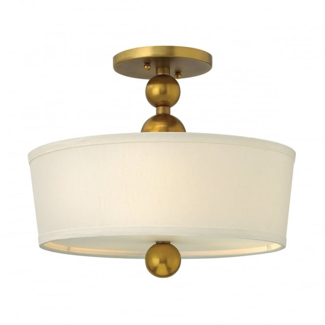 Hinkley Lighting ZELDA vintage brass semi-flush fitting low ceiling light