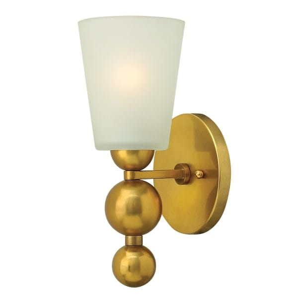 Brass Wall Lights With Shades : Single Deco Style Wall Light in Vintage Brass with Frosted glass Shade