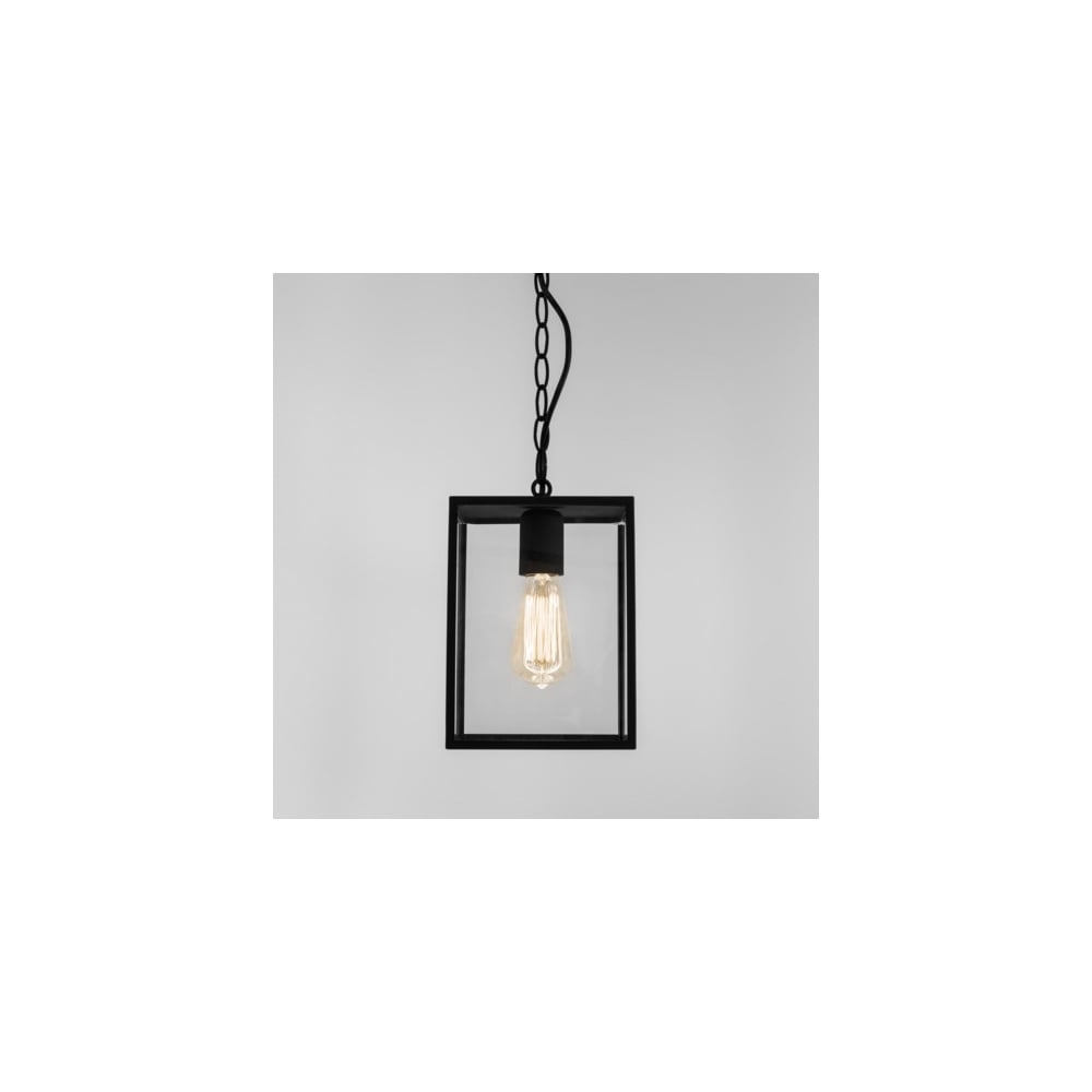 Black box lantern ceiling pendant with clear glass