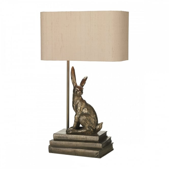 Table lamp rabbit design quality cast bronze effect with silk shade heirloom gifts for grandchild rabbit lamp cast bronze effect aloadofball Image collections