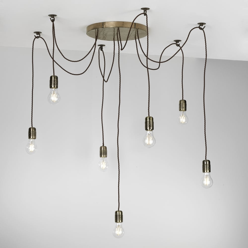 Rustic 7 Light Ceiling Pendant Cluster In Bronze With