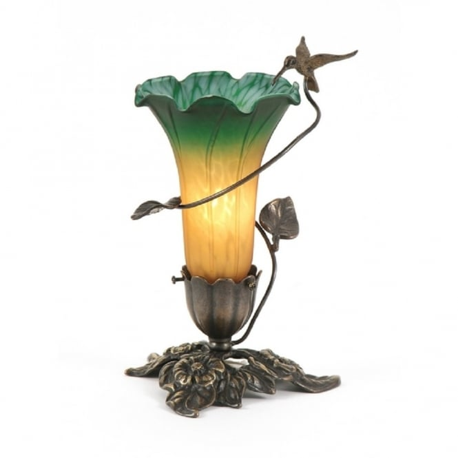 Art Nouveau Humming Bird Table Lamp With Rich Amber Green Glass Shade