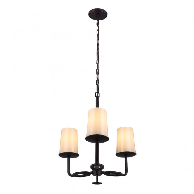 HUNTLEY rustic oil rubbed bronze 3lt chandelier with ivory glass shades
