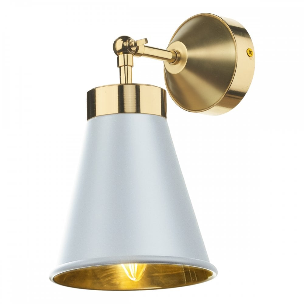 Hyde Contemporary White And Polished Brass Wall Light