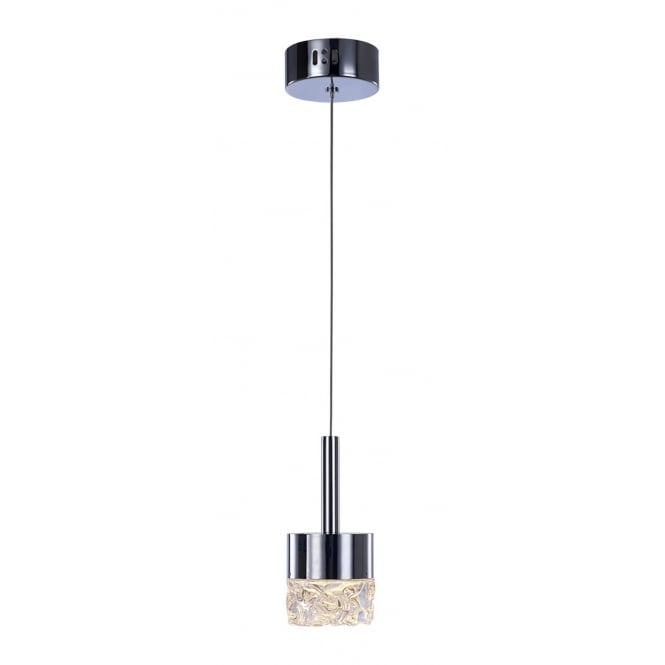 RIPPLE modern LED ceiling pendant in chrome with moulded glass shade