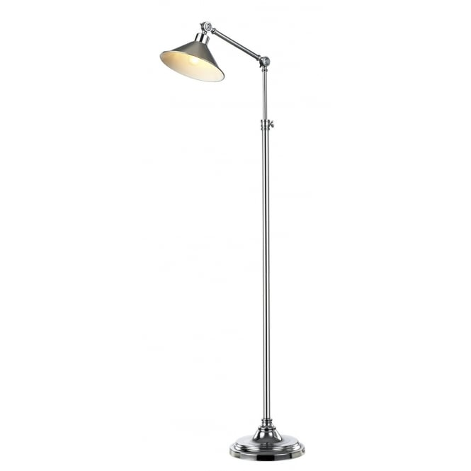 SYDNEY industrial style floor lamp in polished chrome finish