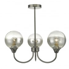 modern 3 light semi flush ceiling light in black chrome
