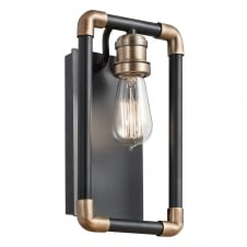 industrial pipe style wall light in black and brass