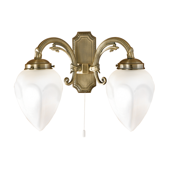 traditional double wall light in bronze with pull switch