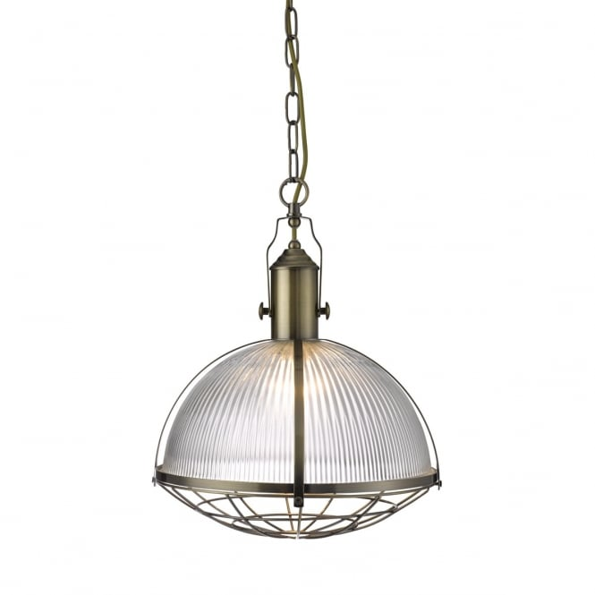 INDUSTRIAL antique brass ceiling pendant with ribbed glass shade